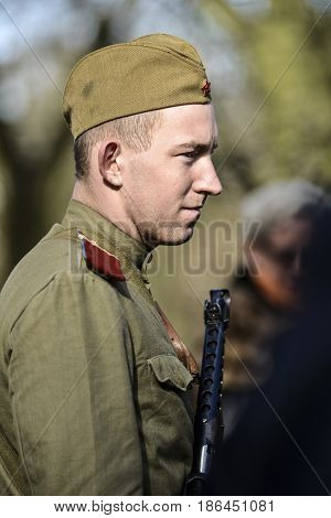 Szczecin Poland March 3 2013: Soviet soldier during historical reconstruction.