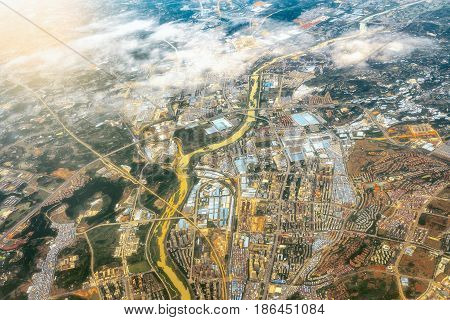 Aerial view of Chengdu district at sunset time. China.