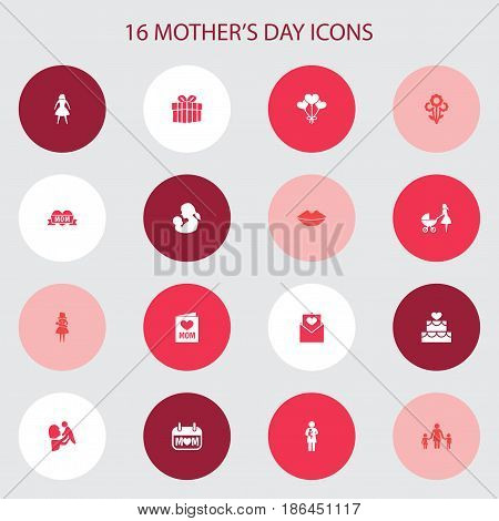 Mothers Day Icon Design Concept. Set Of 16 Such Elements As Baby, Letter And Kid. Beautiful Symbols For Envelope, Balloon And Letter.