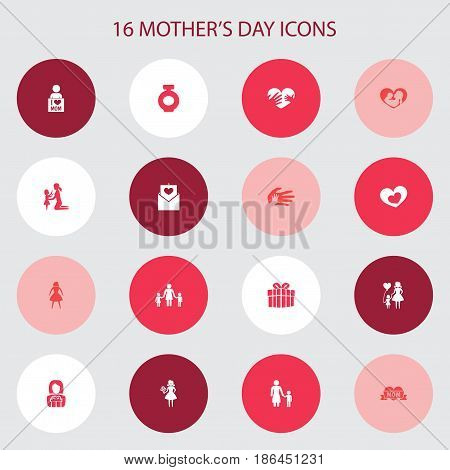 Mothers Day Icon Design Concept. Set Of 16 Such Elements As Letter, Female And Gift To Mother. Beautiful Symbols For Gift, Fragrance And Infant.