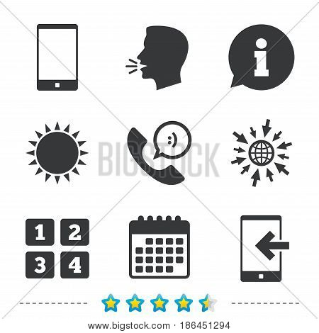 Phone icons. Smartphone incoming call sign. Call center support symbol. Cellphone keyboard symbol. Information, go to web and calendar icons. Sun and loud speak symbol. Vector