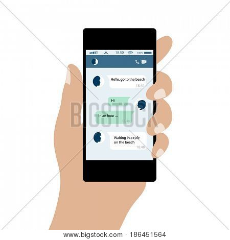 Mobile Phone in Hand with Messages in Chat. Concept of Social Networks of Internet. illustration