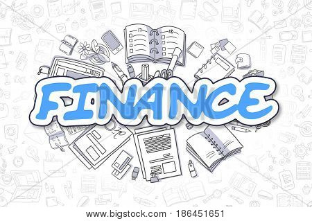 Finance - Hand Drawn Business Illustration with Business Doodles. Blue Word - Finance - Doodle Business Concept.