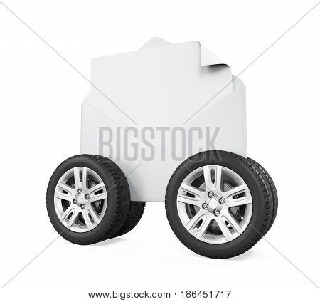 Envelope with Wheels isolated on white background. 3D render