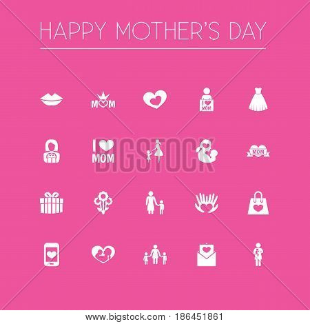 Mothers Day Icon Design Concept. Set Of 20 Such Elements As Cellphone, Madame And Lady. Beautiful Symbols For Baby, I And Letter.