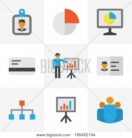 Business Flat Icons Set. Collection Of Statistics, Id Badge, Payment And Other Elements. Also Includes Symbols Such As Man, Unity, Identification.