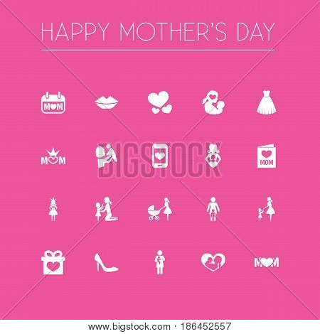 Mothers Day Icon Design Concept. Set Of 20 Such Elements As Missus, Holiday And Stiletto. Beautiful Symbols For Soul, Stroller And Kiss.