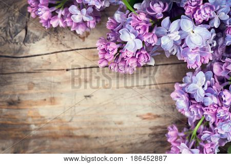 Lilac flowers bunch over wood background. Beautiful violet Lilac flower still life border design on wooden table. Beauty fragrant Lilac Flowers bouquet with Copy space for your text