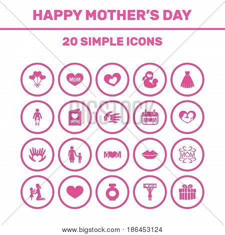 Mothers Day Icon Design Concept. Set Of 20 Such Elements As Design, Mouth And Mam. Beautiful Symbols For Infant, Child And Ribbon.