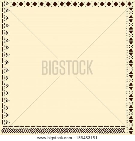 Beige and brown african mudcloth fabric pattern frame, vector background