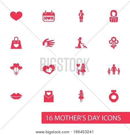Mothers Day Icon Design Concept. Set Of 16 Such Elements As People, Decoration And Newborn Baby. Beautiful Symbols For Plant, Day And Letter.