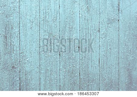 Vintage Green Faded Rustic Wooden Background. Grunge Old Wood Shabby Peeling Paint Isolated Wall Texture. Stylized Weathered Surface. Horizontal Image Copy Space
