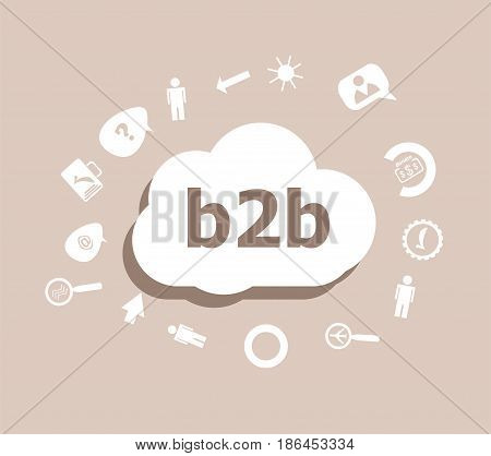 Text B2B. Web Desing Concept . Icons Set For Cloud Computing For Web And App