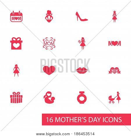 Mothers Day Icon Design Concept. Set Of 16 Such Elements As Mam, Present And Holiday. Beautiful Symbols For Perfume, Text And Mam.
