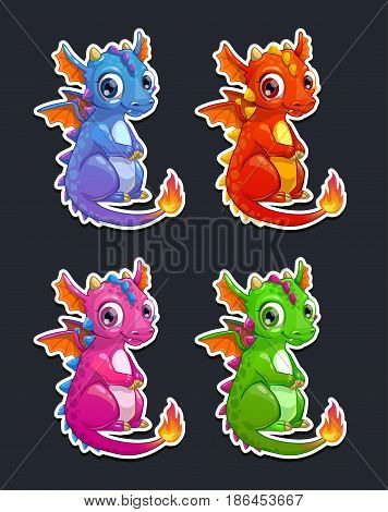 Cute cartoon little dragon, colorful icons set. Vector stickers on dark background.