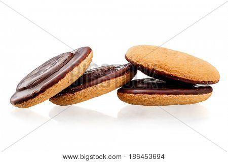 Close-up image of short pastry cookies dipped in chocolate isolated on white background