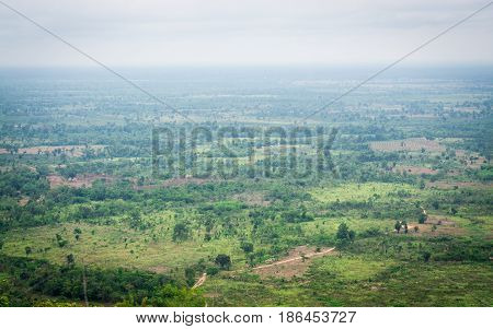Landscape of cambodia border view from Chong Plodtang Kap Choeng District Surin Province Thailand