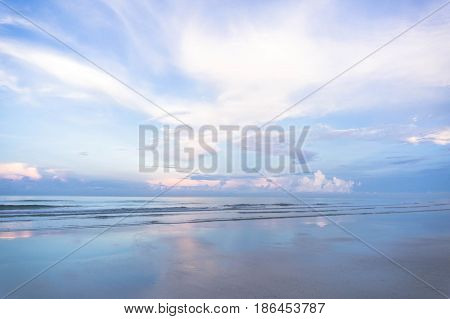 Exotic beach nature and clouds on horizon. Summer beach paradise. beach relax, landscape morning sea.