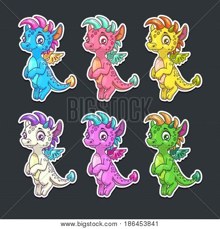 Funny colorful dragon stickers set. Vector childish illustration.