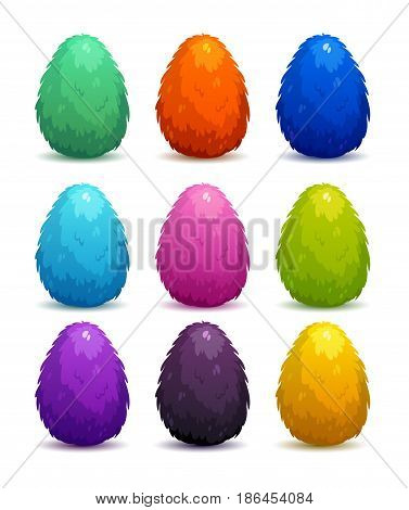 Colorful fantasy fluffy eggs set. Vector icons on white background.