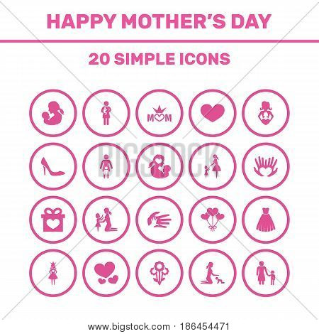 Mothers Day Icon Design Concept. Set Of 20 Such Elements As Flowers, Baby And Relations. Beautiful Symbols For Dress, Palm And Bouquet.