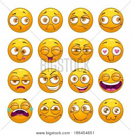 Funny comic cartoon yellow smiley faces set. Vector round emoticons.