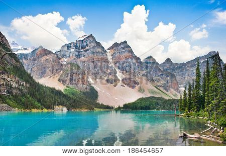 Beautiful Landscape With Rocky Mountains And Famous Moraine Lake In Banff National Park, Alberta, Ca