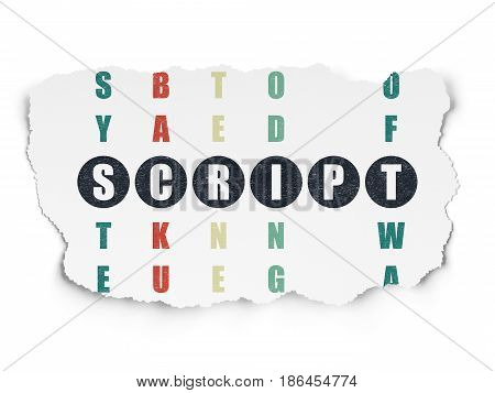Programming concept: Painted black word Script in solving Crossword Puzzle on Torn Paper background