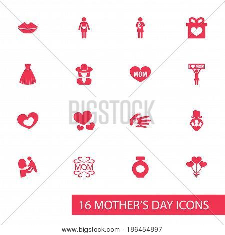 Mothers Day Icon Design Concept. Set Of 16 Such Elements As Heart, Kid And Present. Beautiful Symbols For Newborn, Decoration And Pregnant.