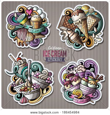 Set of Ice Cream cartoon stickers. Vector doodle objects and symbols collection. Label design elements. Cute patches, pins, badges series. Comic style.