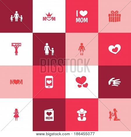 Mothers Day Icon Design Concept. Set Of 16 Such Elements As Madame, Relations And Mom. Beautiful Symbols For Palm, Screen And Hand.