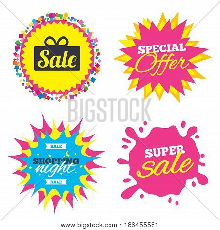 Sale splash banner, special offer star. Sale gift box sign icon. Special offer symbol. Shopping night star label. Vector