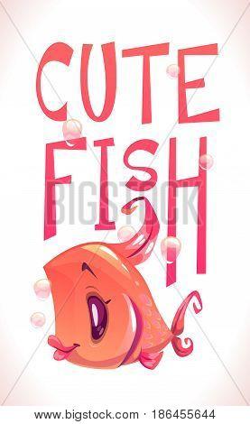 Cute fish illustration. Funny cartoon print template.