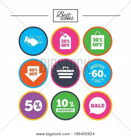 Sale discounts icon. Shopping, handshake and cart signs. 10, 50 and 60 percent off. Special offer symbols. Classic simple flat icons. Vector