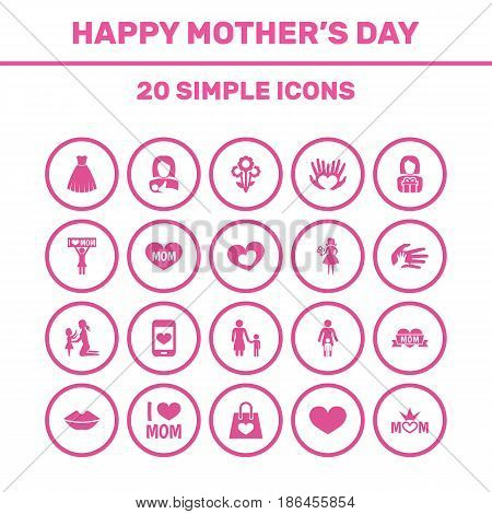 Mothers Day Icon Design Concept. Set Of 20 Such Elements As Protect, Madame And Mouth. Beautiful Symbols For Plant, Text And Gift.