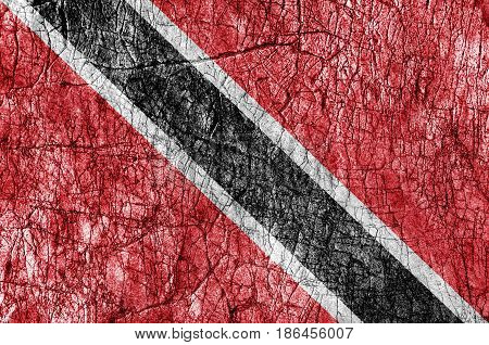 Grudge stone painted Trinidad and Tobago flag
