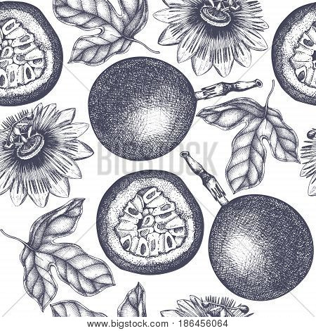 Tropical hand drawn illustration. Engraved botanical sketch. Passiflora seamless pattern.