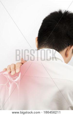 shoulder bone injury white background shoulder pain