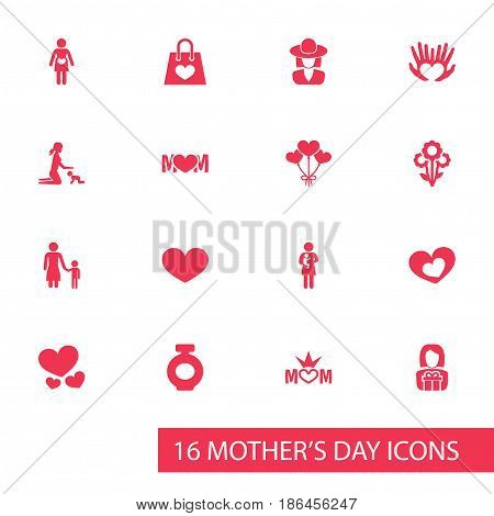 Mothers Day Icon Design Concept. Set Of 16 Such Elements As Newborn Baby, Madame And Heart. Beautiful Symbols For Heart, Flower And Son.