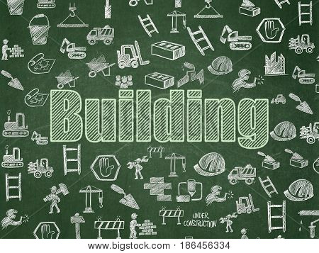 Construction concept: Chalk Green text Building on School board background with  Hand Drawn Building Icons, School Board