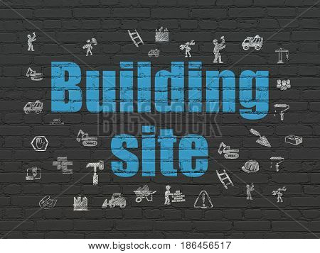 Constructing concept: Painted blue text Building Site on Black Brick wall background with  Hand Drawn Building Icons