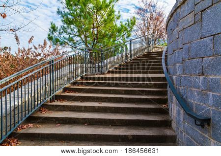 Curved staircase to Grand Arbor in the Piedmont Park in sunny autumn day Atlanta USA