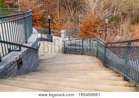 Curved staircase to Grand Arbor in the Piedmont Park in autumn day Atlanta USA