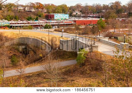 Atlanta Georgia USA - December 16 2016: Aerial view of the Evelyn Street NE and Piedmont Park Trail in autumn day