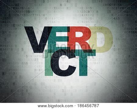 Law concept: Painted multicolor text Verdict on Digital Data Paper background