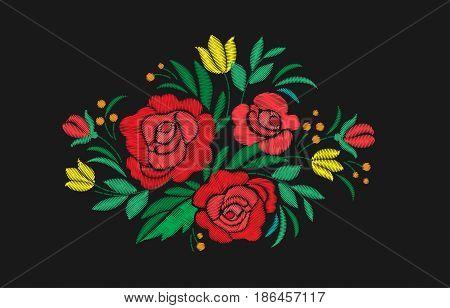 Vintage flower composition embroidery. Elements of clothing design. Vector illustration