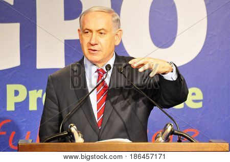 JERUSALEM, ISRAEL -  December 17, 2014. Prime Minister of Israel Benjamin Netanyahu speaking at the annual Government Press Office event devoted to Chanukah.