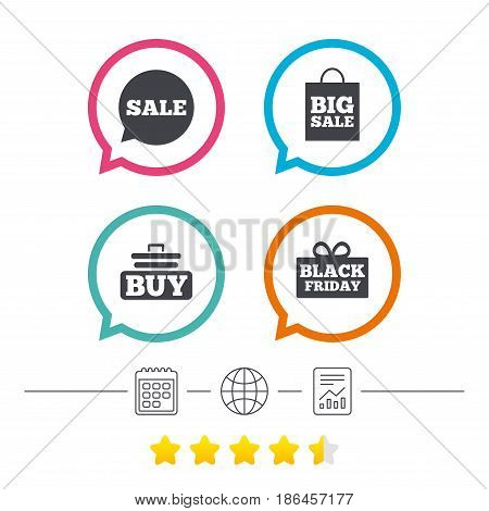Sale speech bubble icons. Buy cart symbols. Black friday gift box signs. Big sale shopping bag. Calendar, internet globe and report linear icons. Star vote ranking. Vector