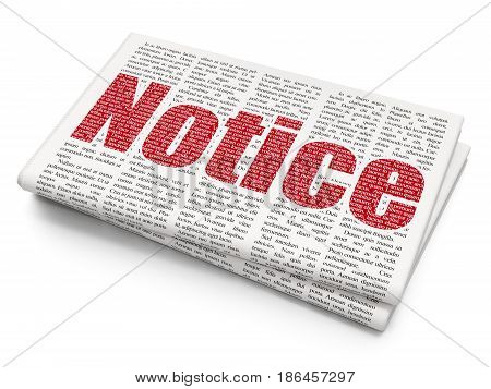 Law concept: Pixelated red text Notice on Newspaper background, 3D rendering
