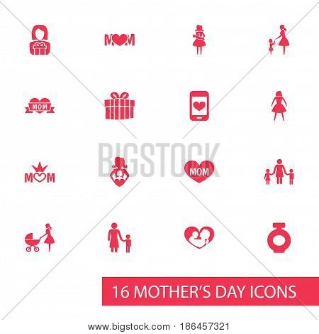 Mothers Day Icon Design Concept. Set Of 16 Such Elements As Nanny, Infant And Loving. Beautiful Symbols For Playing, Son And Care.